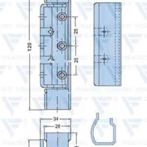 Dobradiça vertical com 120mm