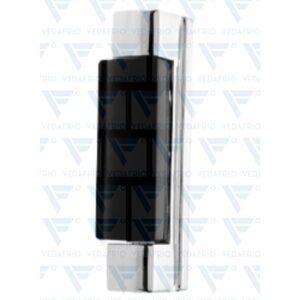 Dobradiça vertical com 120mm em zamak 5 cromado. Com MOLA. Com capa em ABS preto. Suplemento plástico incluído AC.1145 - Suplemento 5mm